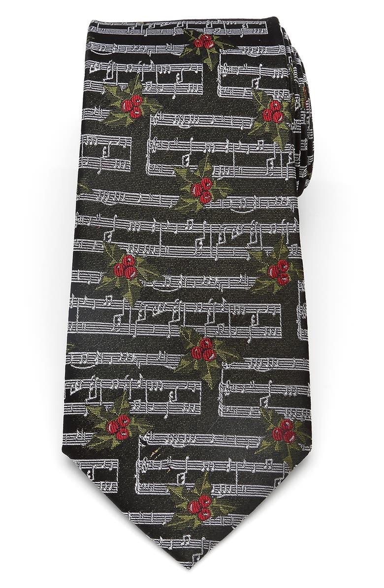 CUFFLINKS, INC. Holly Music Note Silk Tie, Main, color, BLACK