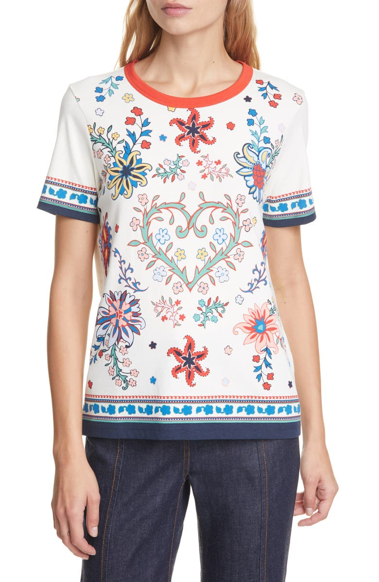 TORY BURCH Floral Heart Graphic Cotton Tee, Main, color, 900