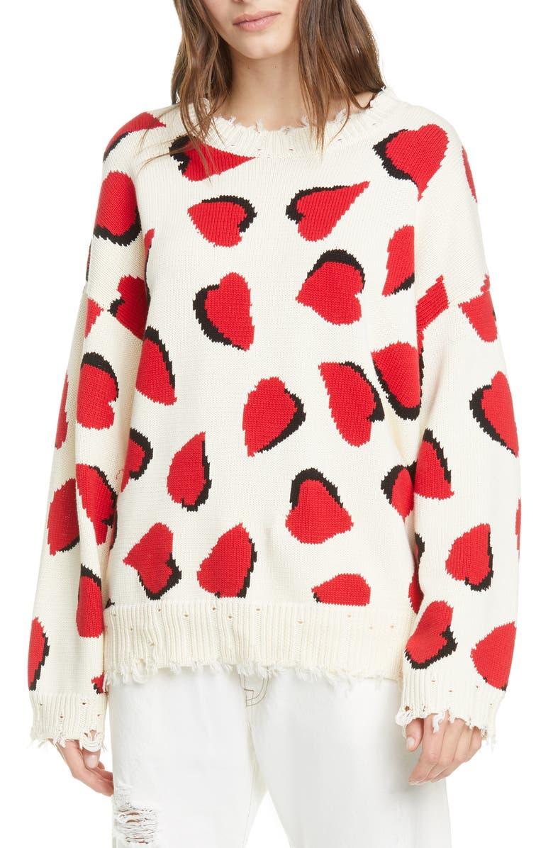 R13 Heart Oversize Cotton Sweater, Main, color, ECRU W/ HEARTS