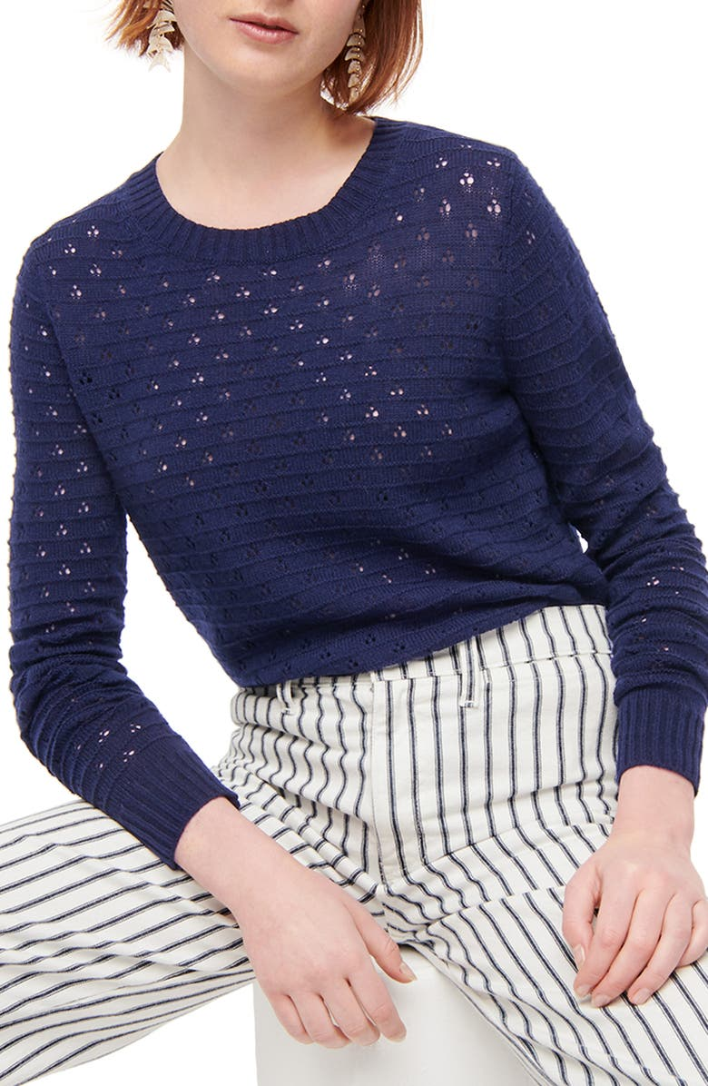 J.CREW Pointelle Crewneck Sweater, Main, color, NAVY