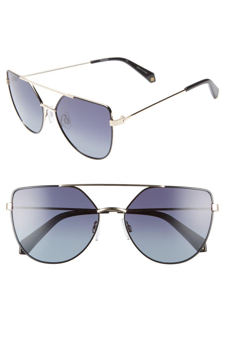 POLAROID EYEWEAR Polaroid 58mm Polarized Sunglasses, Main, color, BLACK