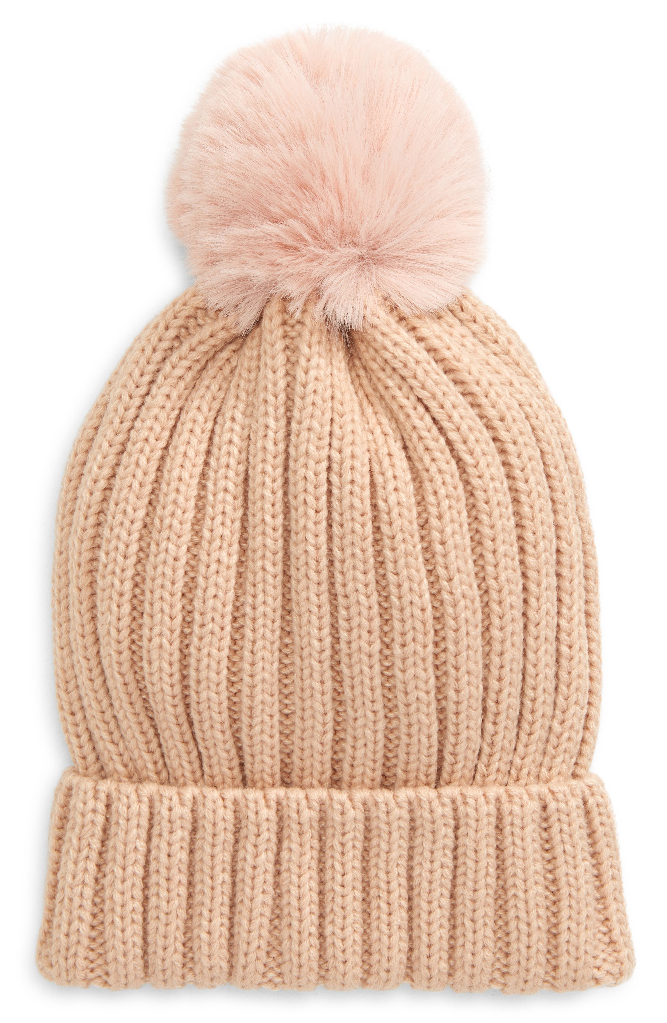 Bp. Beanie With Faux Fur Pom In Oatmeal