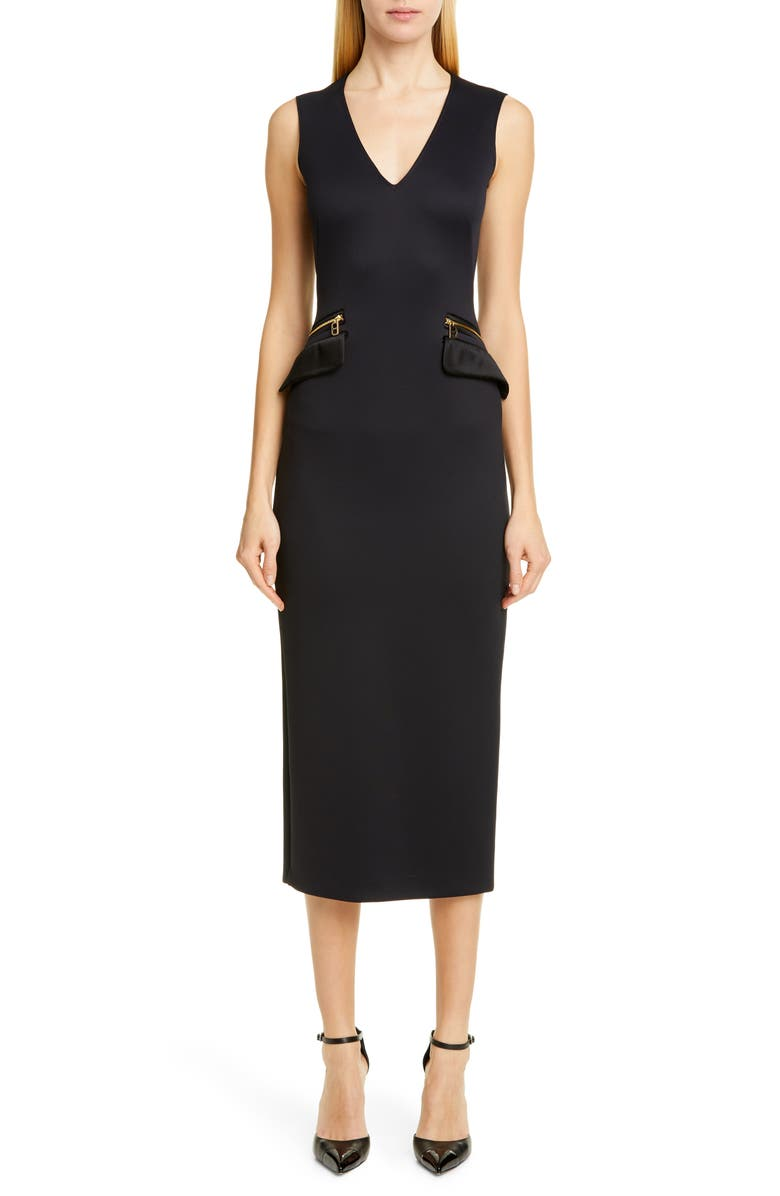 BRANDON MAXWELL Zip Pocket Midi Sheath Dress, Main, color, BLACK