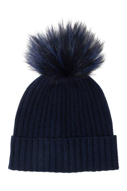 Image of AMICALE Cashmere Genuine Fox Fur Pompom Beanie