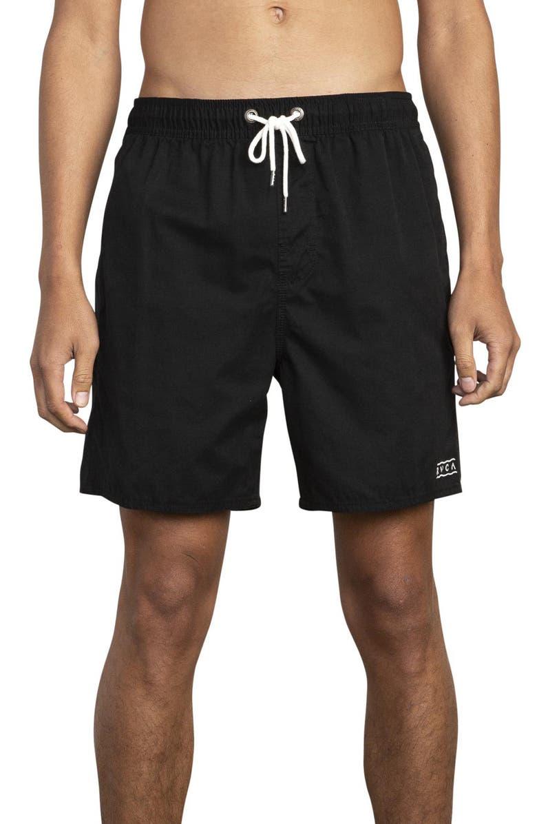 RVCA Gerrard Solid Swim Trunks, Main, color, RVCA BLACK