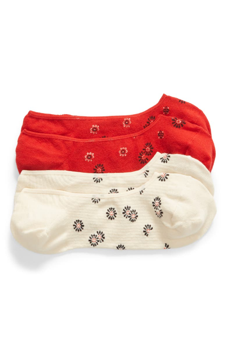 MADEWELL Bandana Blossoms 2-Pack Low-Profile Socks, Main, color, LIPSTICK RED