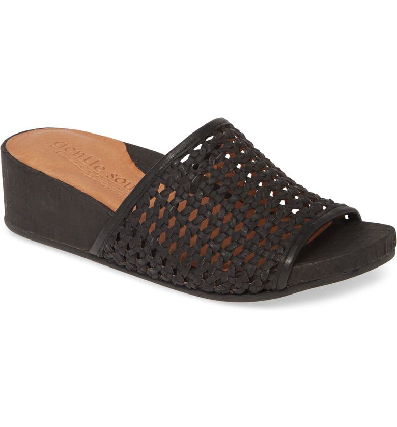 GENTLE SOULS BY KENNETH COLE Gianna Slide Sandal, Main, color, BLACK WOVEN