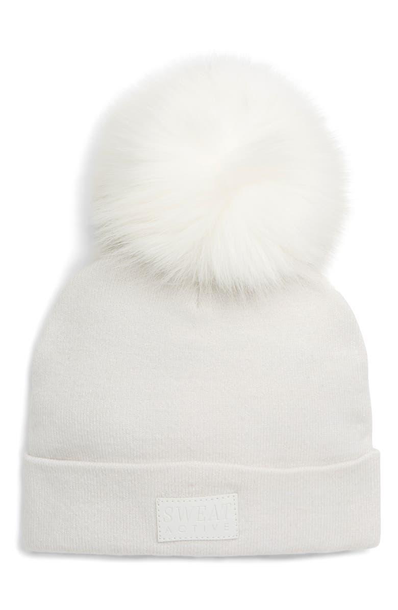 SWEAT ACTIVE Faux Fur Pom Beanie, Main, color, PEARL