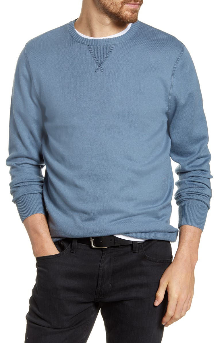 1901 Solid Crewneck Sweater, Main, color, BLUE CHINOISE