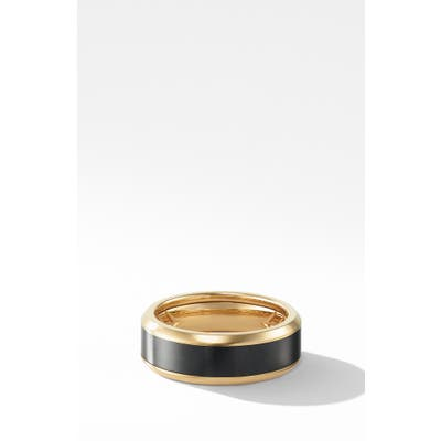 David Yurman Beveled Band Ring In 18K Yellow Gold With Black Titanium