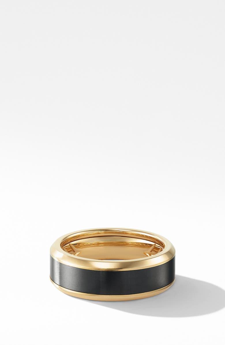 DAVID YURMAN Beveled Band Ring in 18K Yellow Gold with Black Titanium, Main, color, GOLD/ BLACK TITANIUM