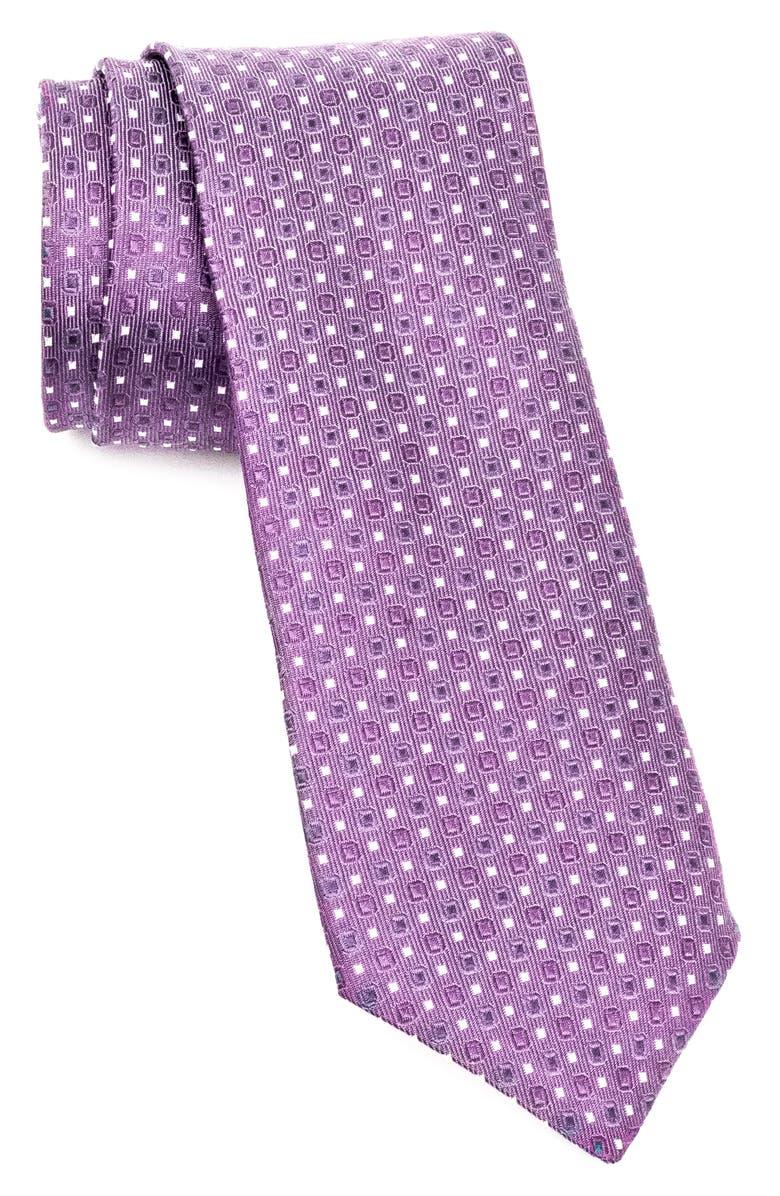 JOHN VARVATOS STAR USA Geometric Silk Tie, Main, color, DRY LAVENDER