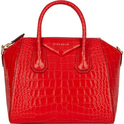Givenchy Mini Antigona Croc Embossed Calfskin Leather Satchel - Red