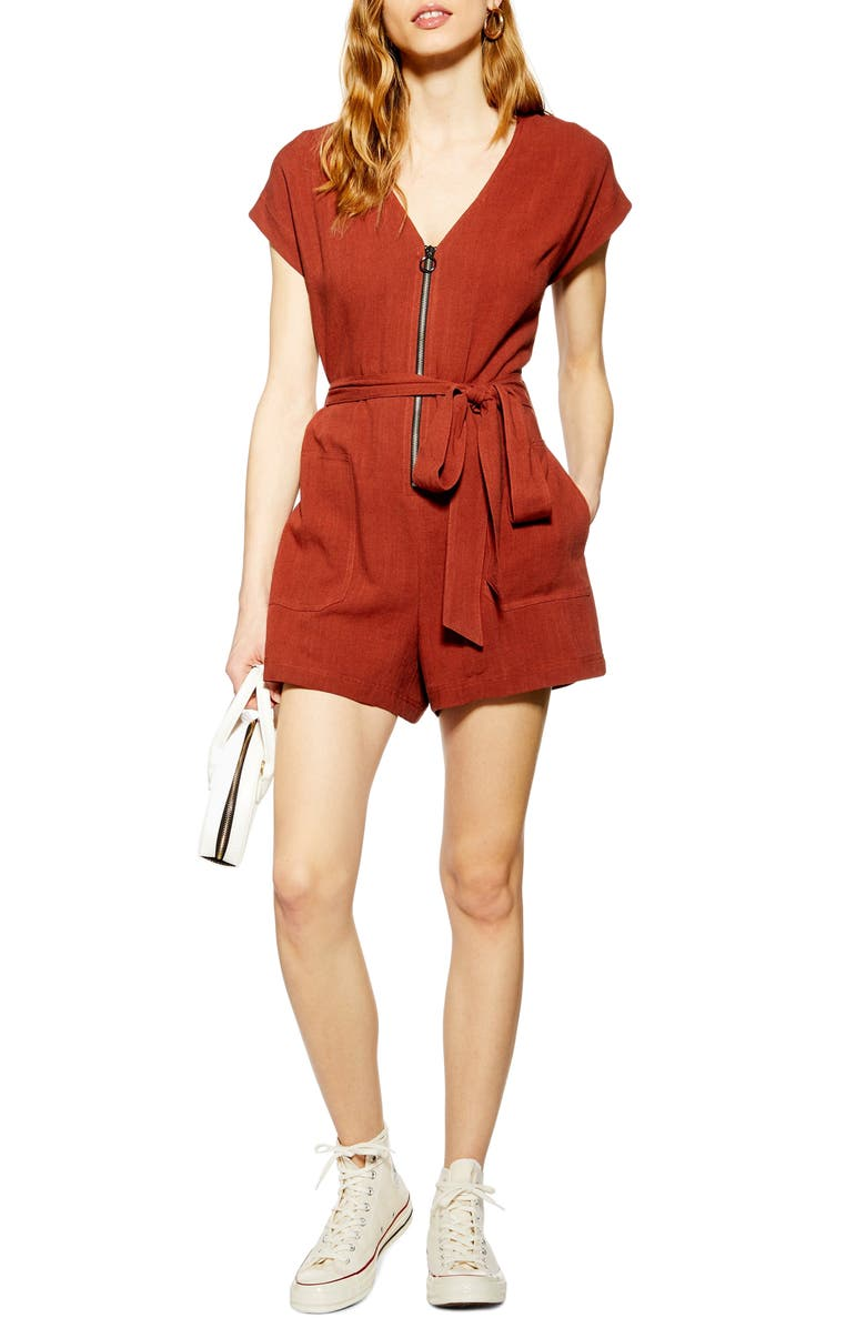 TOPSHOP Front Zip Romper, Main, color, DARK BROWN
