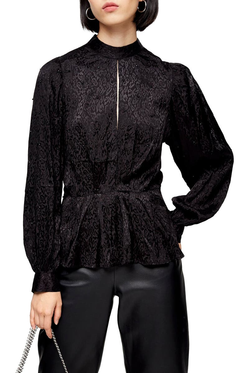 TOPSHOP Beaded Jacquard Blouse, Main, color, BLACK