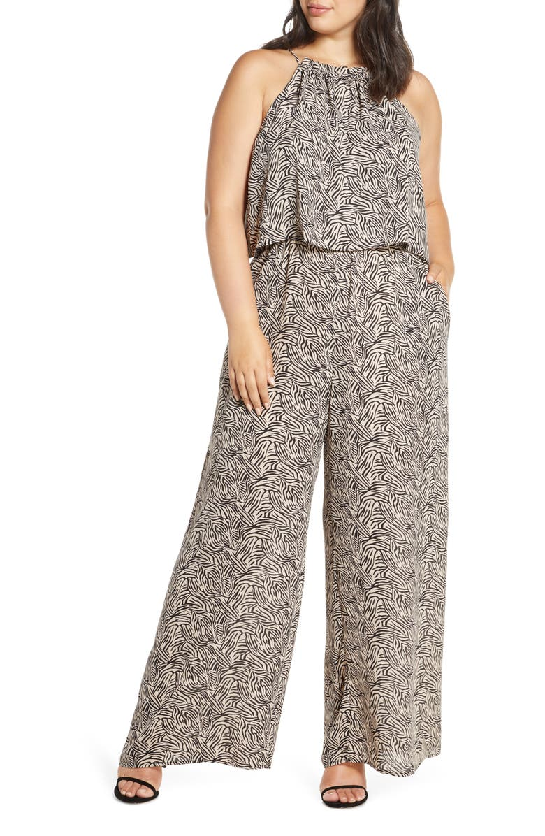 GIBSON x Living in Yellow City Safari Popover Wide Leg Jumpsuit, Main, color, ABSTRACT ZEBRA