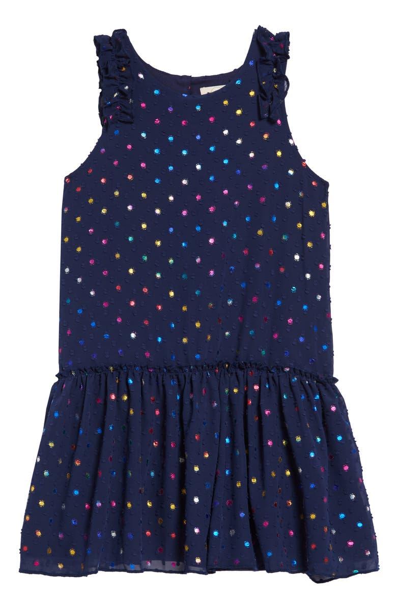 PEEK AREN'T YOU CURIOUS Jackie Swiss Dot Chiffon Dress, Main, color, NAVY