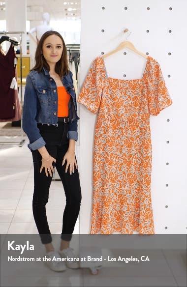 Floral Print Blouson Midi Dress, sales video thumbnail