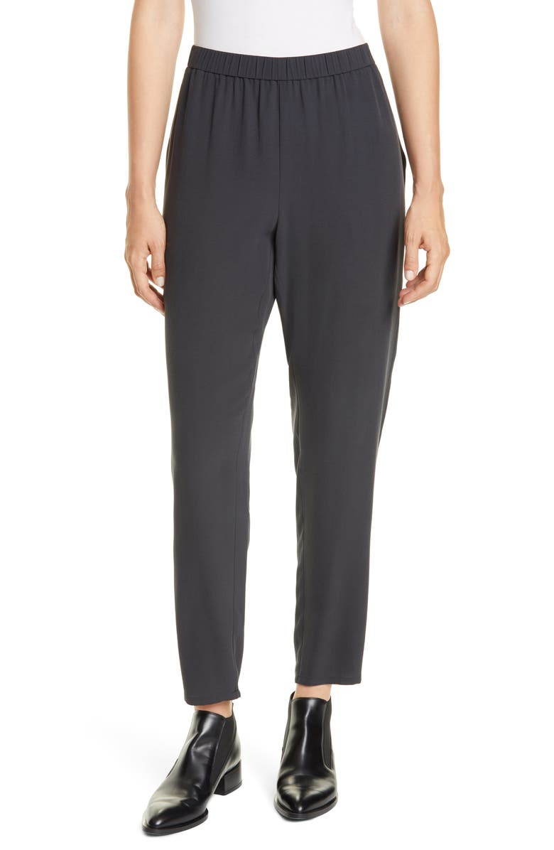 EILEEN FISHER Slouchy Silk Ankle Pants, Main, color, CHARCOAL