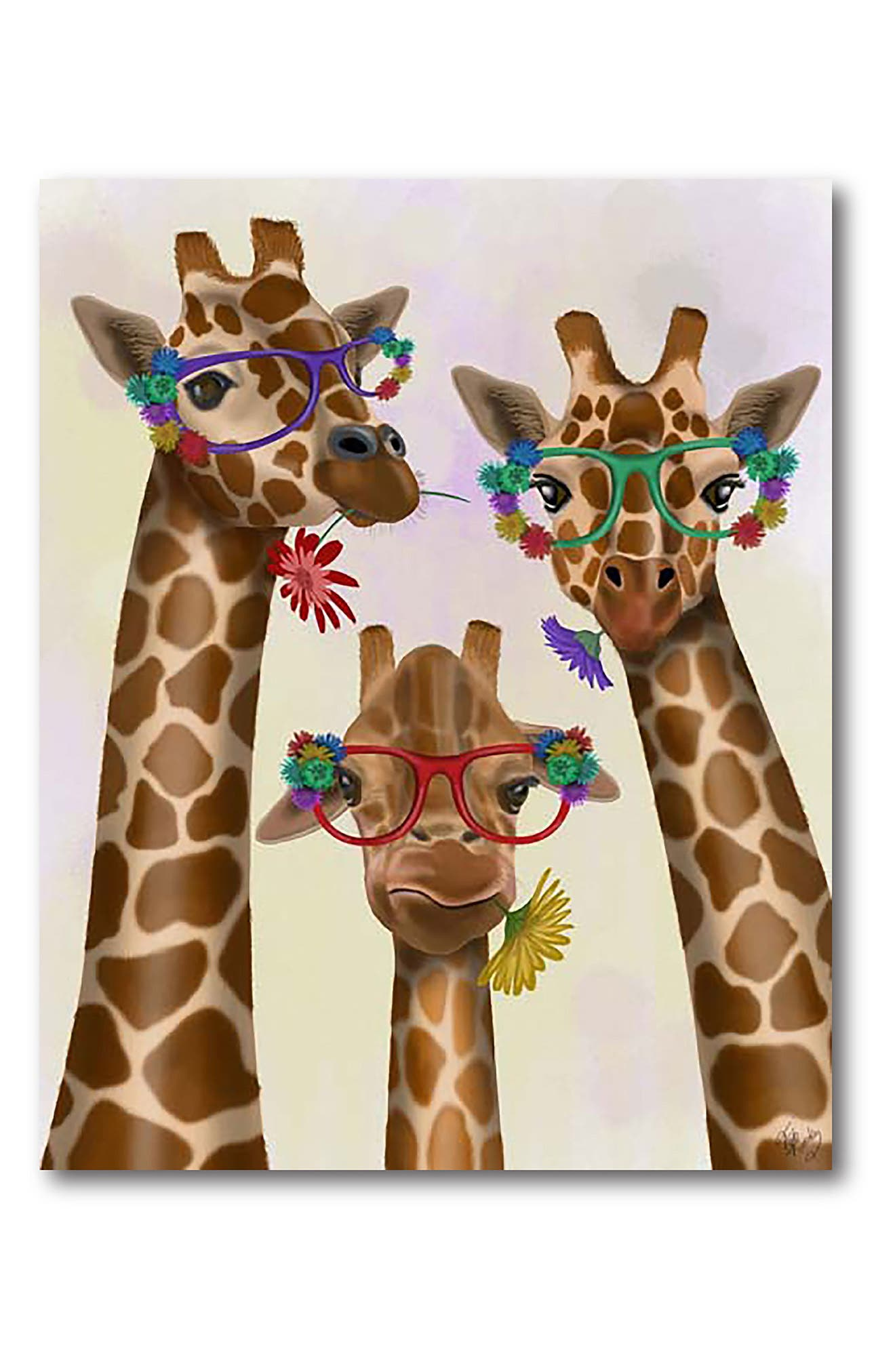 Courtside Market Giraffe And Flower Glasses In Multi Color