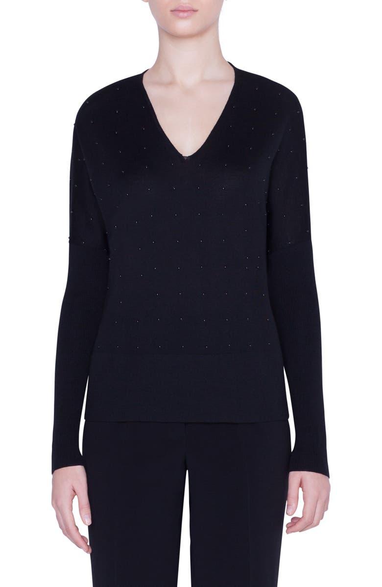AKRIS PUNTO Studded V-Neck Merino Wool Sweater, Main, color, BLACK