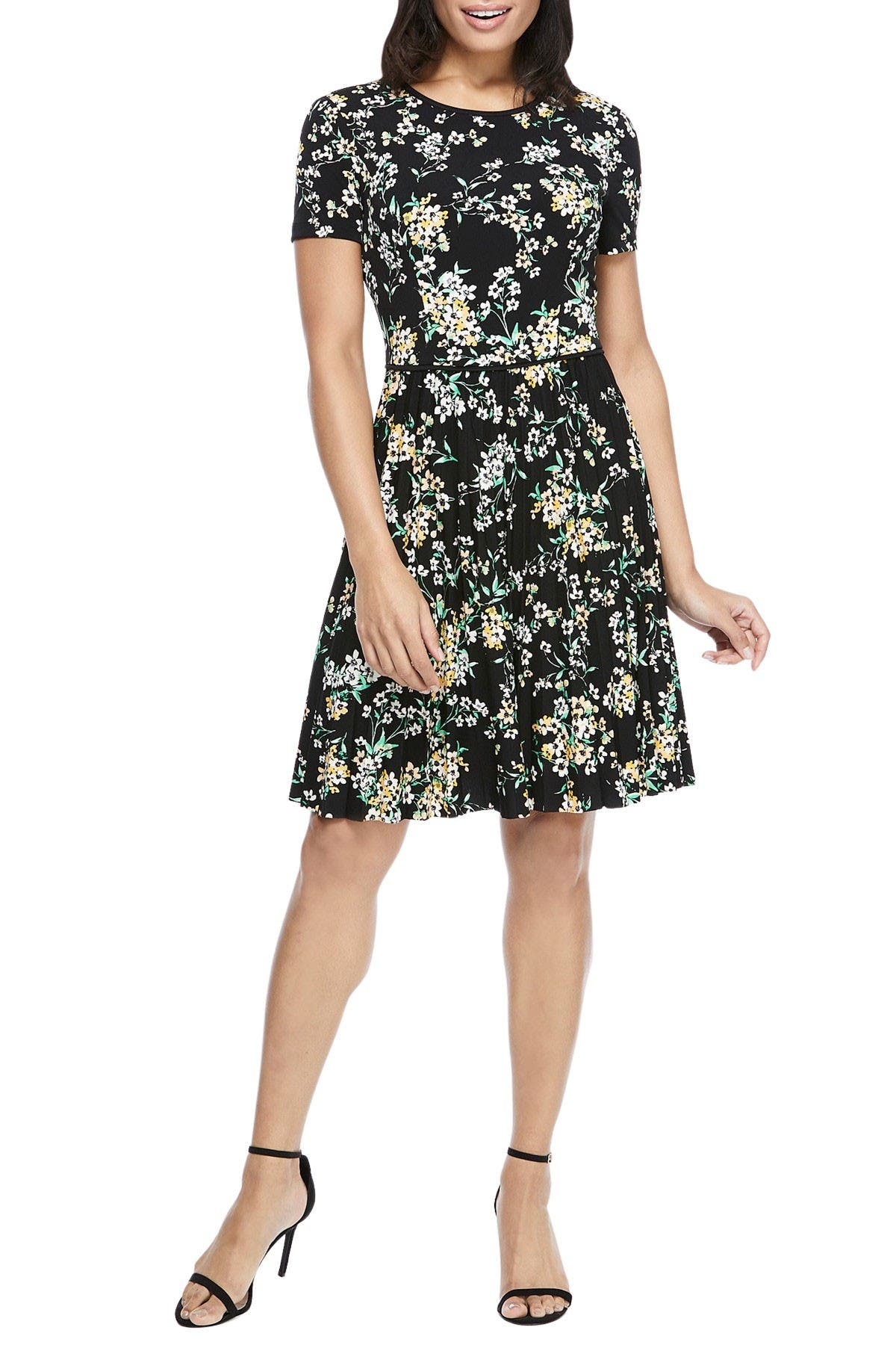 Image of Maggy London Floral Pleated Skirt Dress