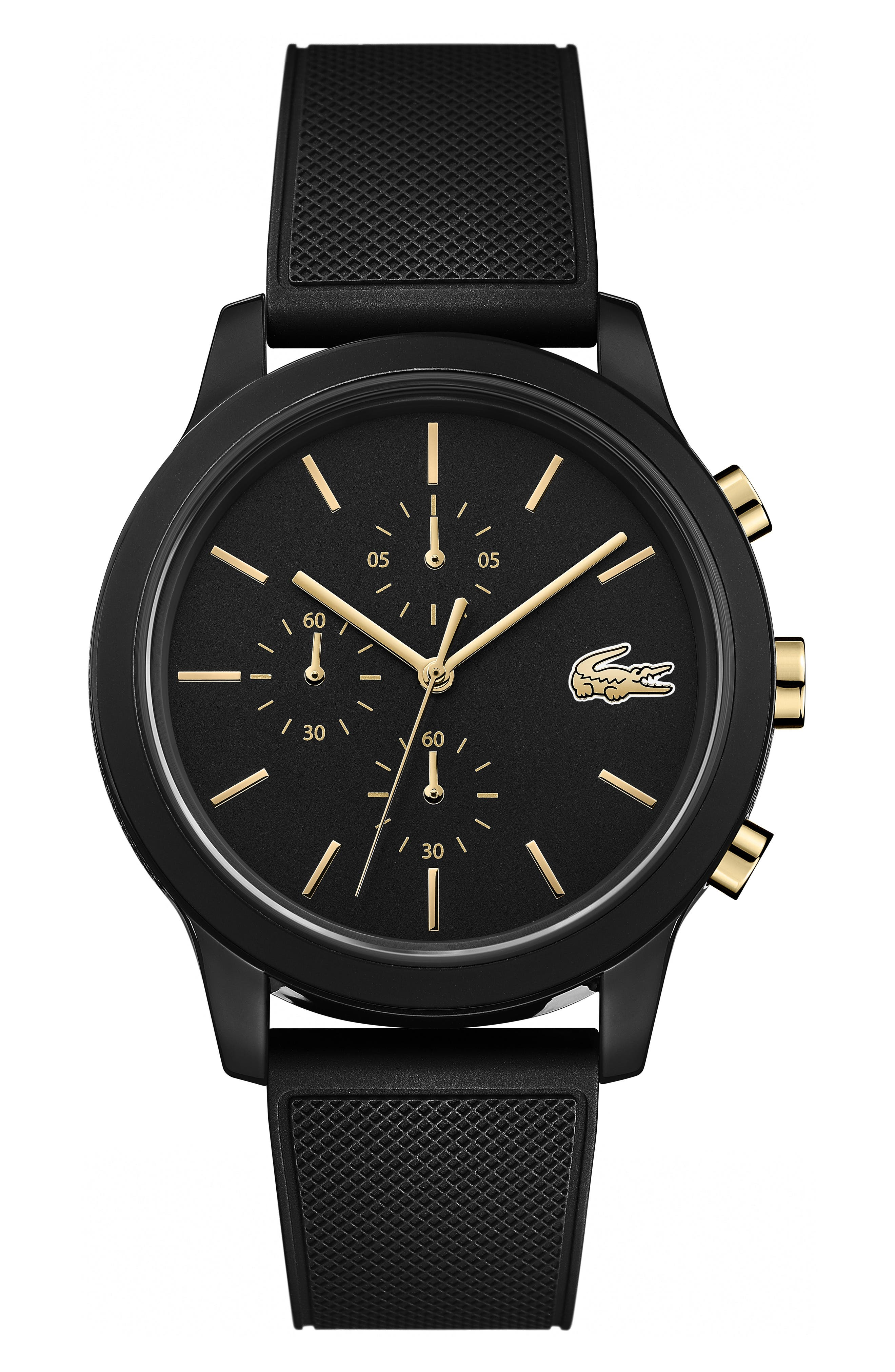 ,                             12.12 Chronograph Silicone Strap Watch, 44mm,                             Main thumbnail 1, color,                             BLACK