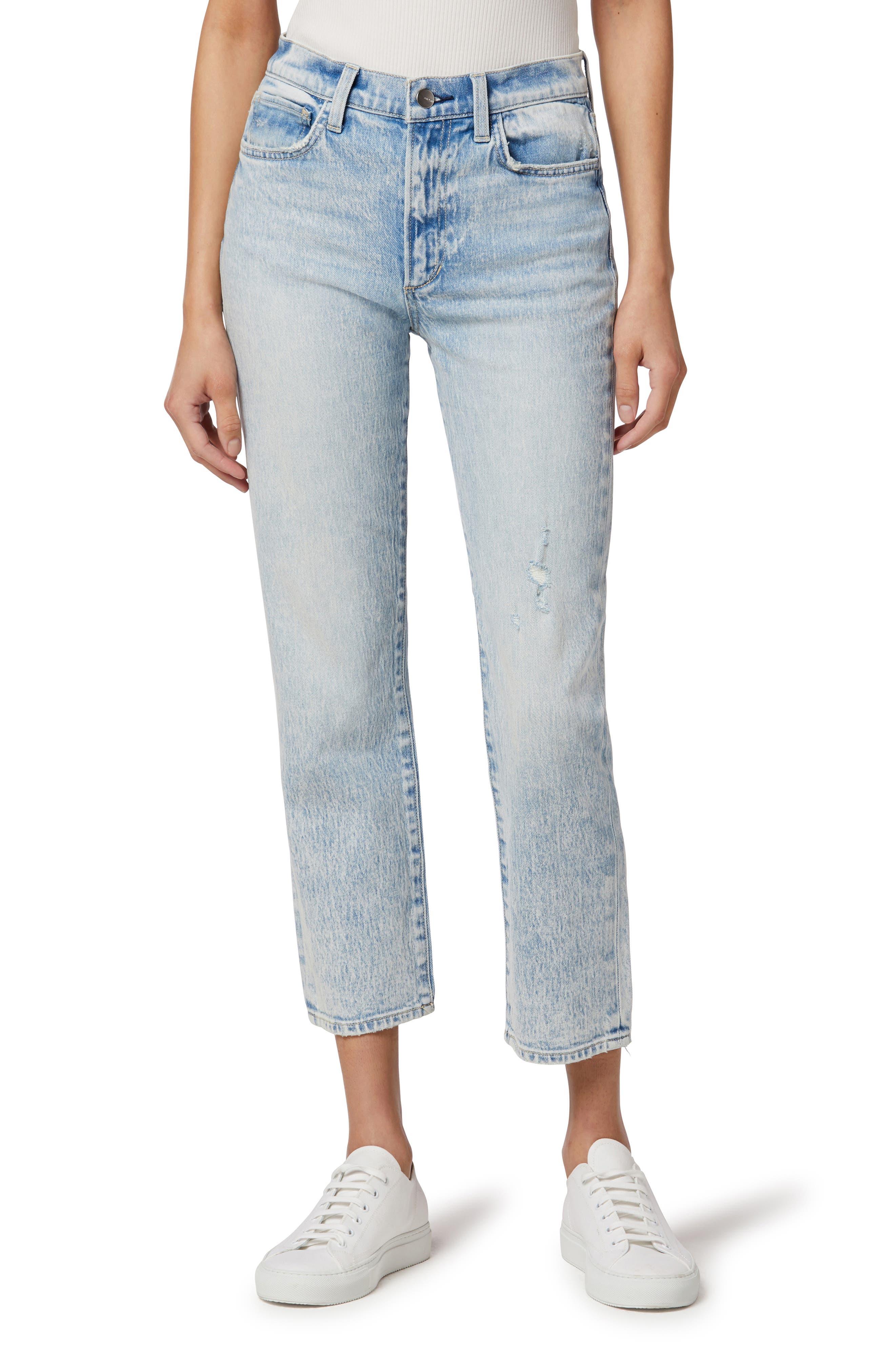 The Luna Distressed High Waist Crop Slim Jeans