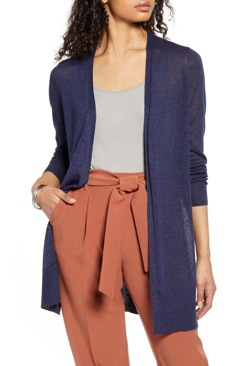 HALOGEN<SUP>®</SUP> Long Cardigan, Main, color, NAVY PEACOAT