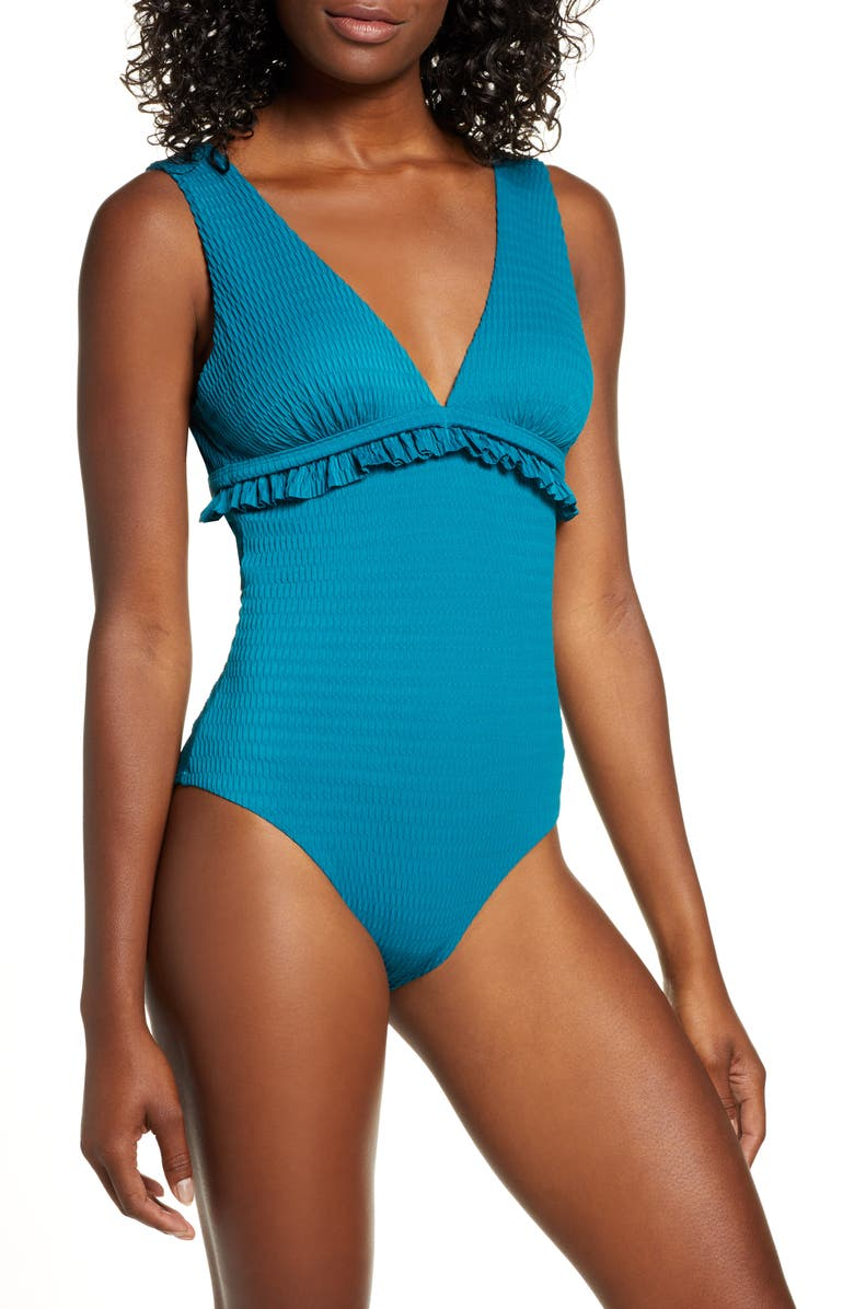 CHELSEA28 Ruffle Trim One-Piece Swimsuit, Main, color, TEAL GLOSS