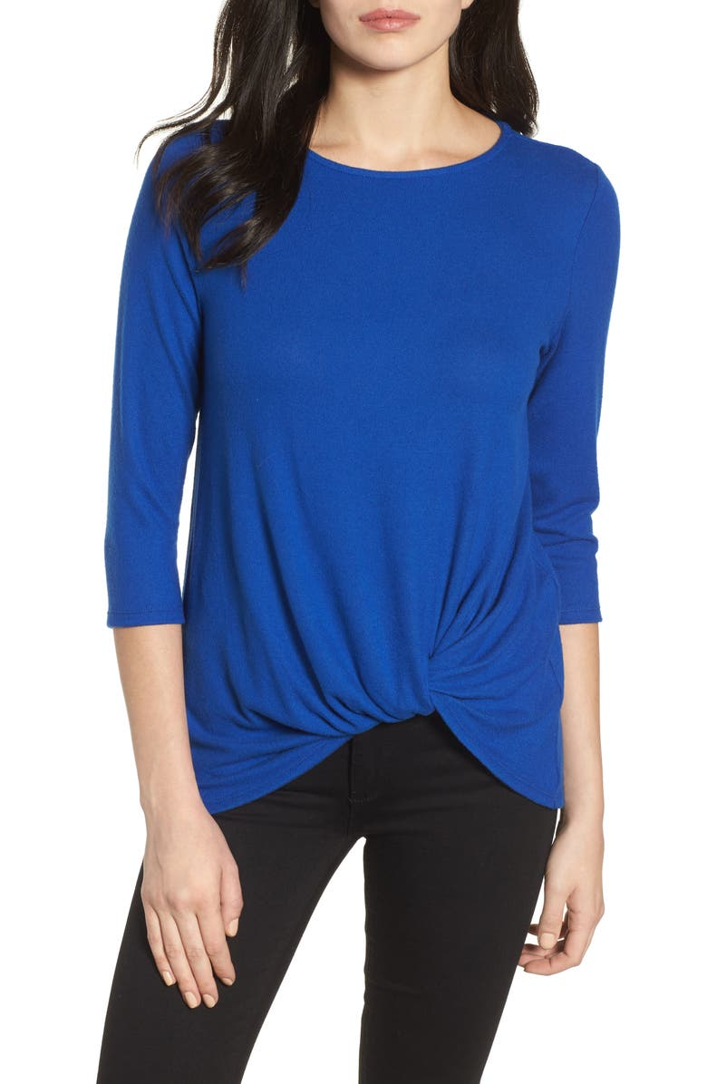 GIBSON Cozy Twist Front Pullover, Main, color, BLUE SURF