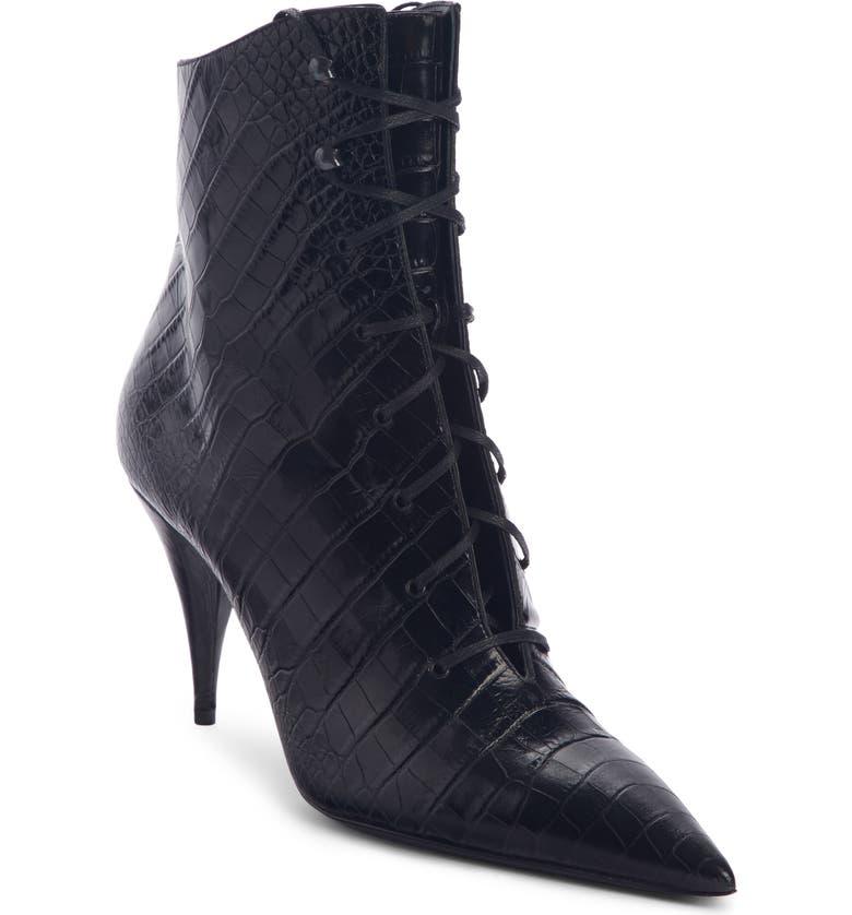 SAINT LAURENT Lace-Up Boot, Main, color, BLACK CROC