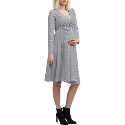 Nom Maternity Tessa Jersey Maternity/nursing Wrap Dress, Black