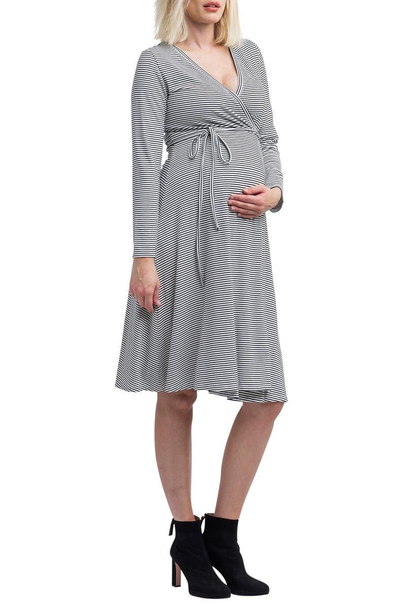NOM MATERNITY Tessa Long Sleeve Jersey Maternity/Nursing Wrap Dress, Main, color, BLACK AND WHITE STRIPE