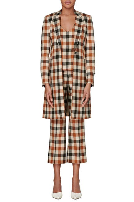 Image of SUISTUDIO Lauren Wool Blend Check Coat