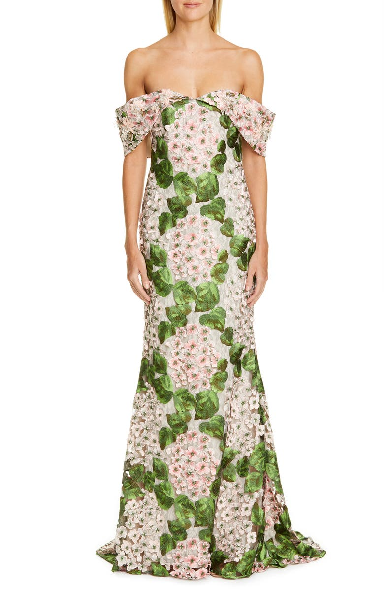 BADGLEY MISCHKA COUTURE Off the Shoulder Floral Embellished Gown, Main, color, 650