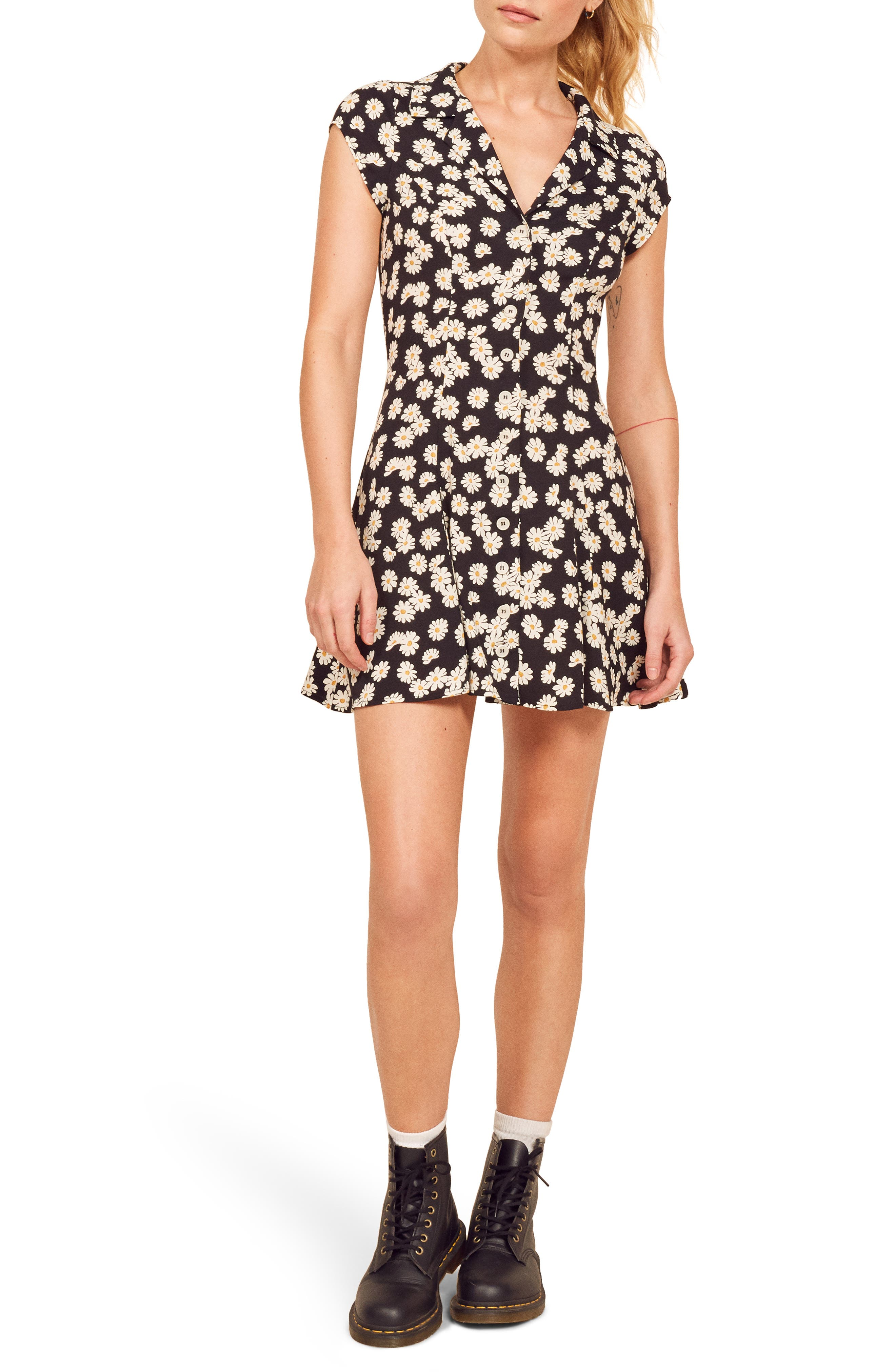 Reformation Concord Button Front Dress, Black