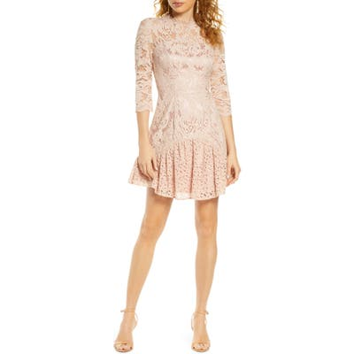 Chi Chi London Emberley Lace Cocktail Dress, Pink