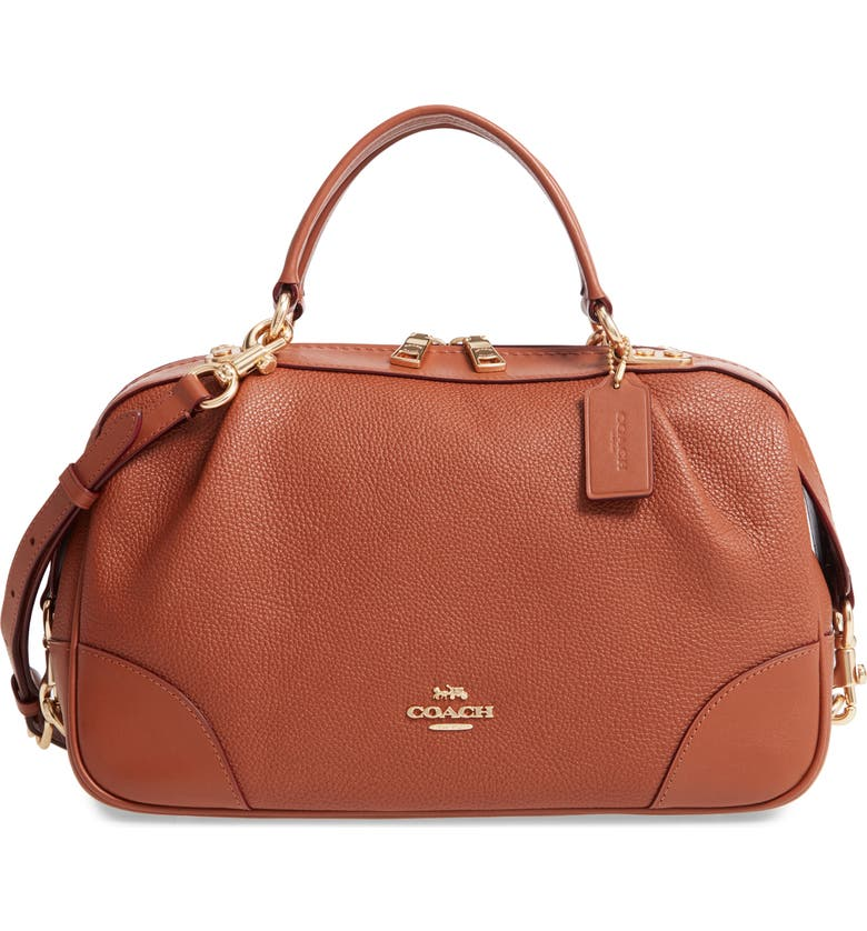 COACH Aidy Leather Satchel, Main, color, 1941 SADDLE