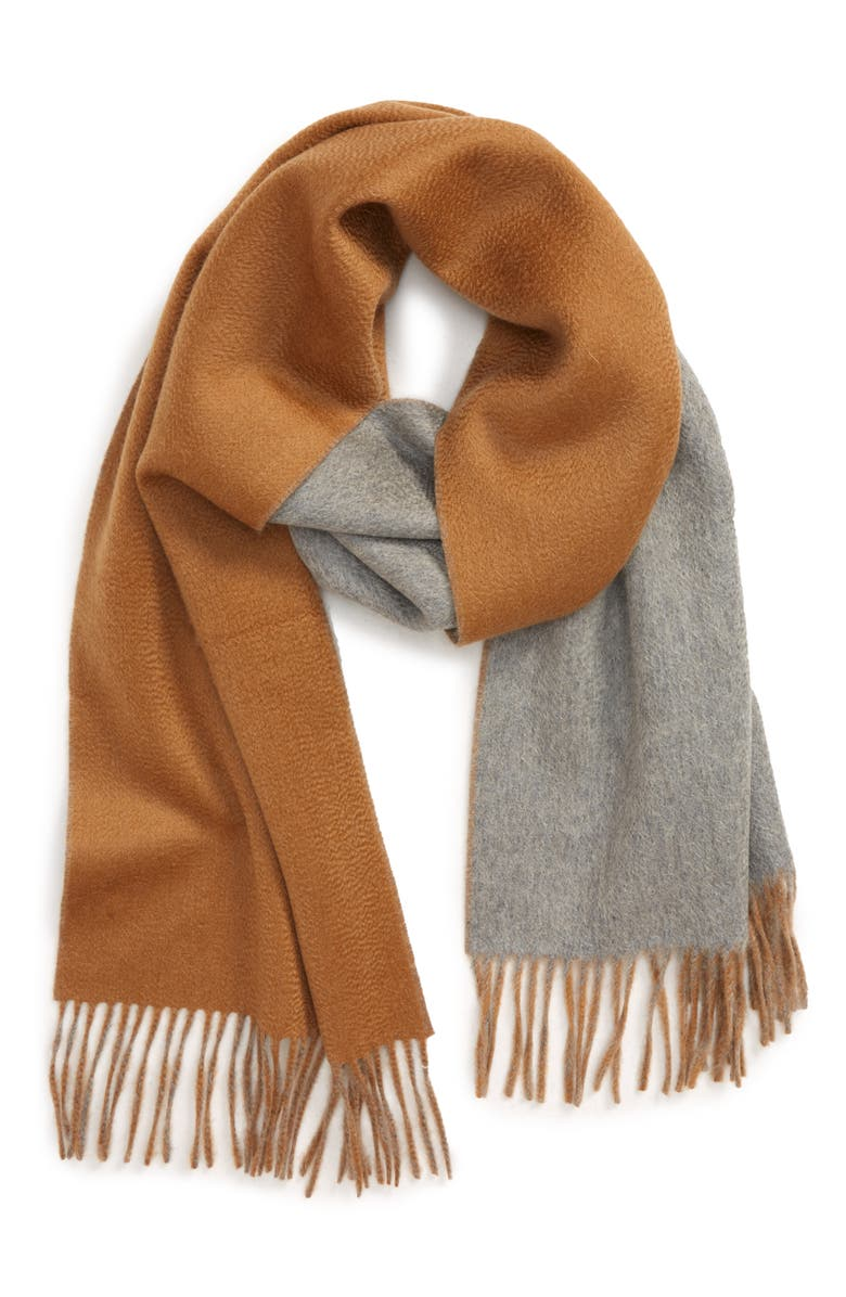 HICKEY FREEMAN Double Face Cashmere Scarf, Main, color, VICUNA GREY