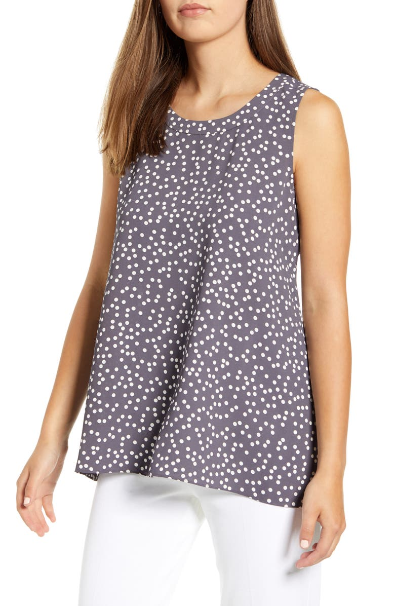 ANNE KLEIN Scattered Dot Top, Main, color, NANTUCKET GREY/ ANNE WHITE