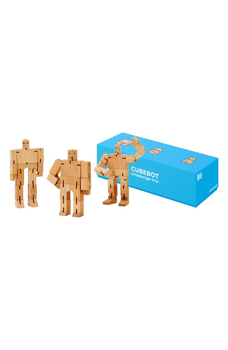 AREAWARE Cubebot Challenge Trio Puzzle Set, Main, color, NATURAL