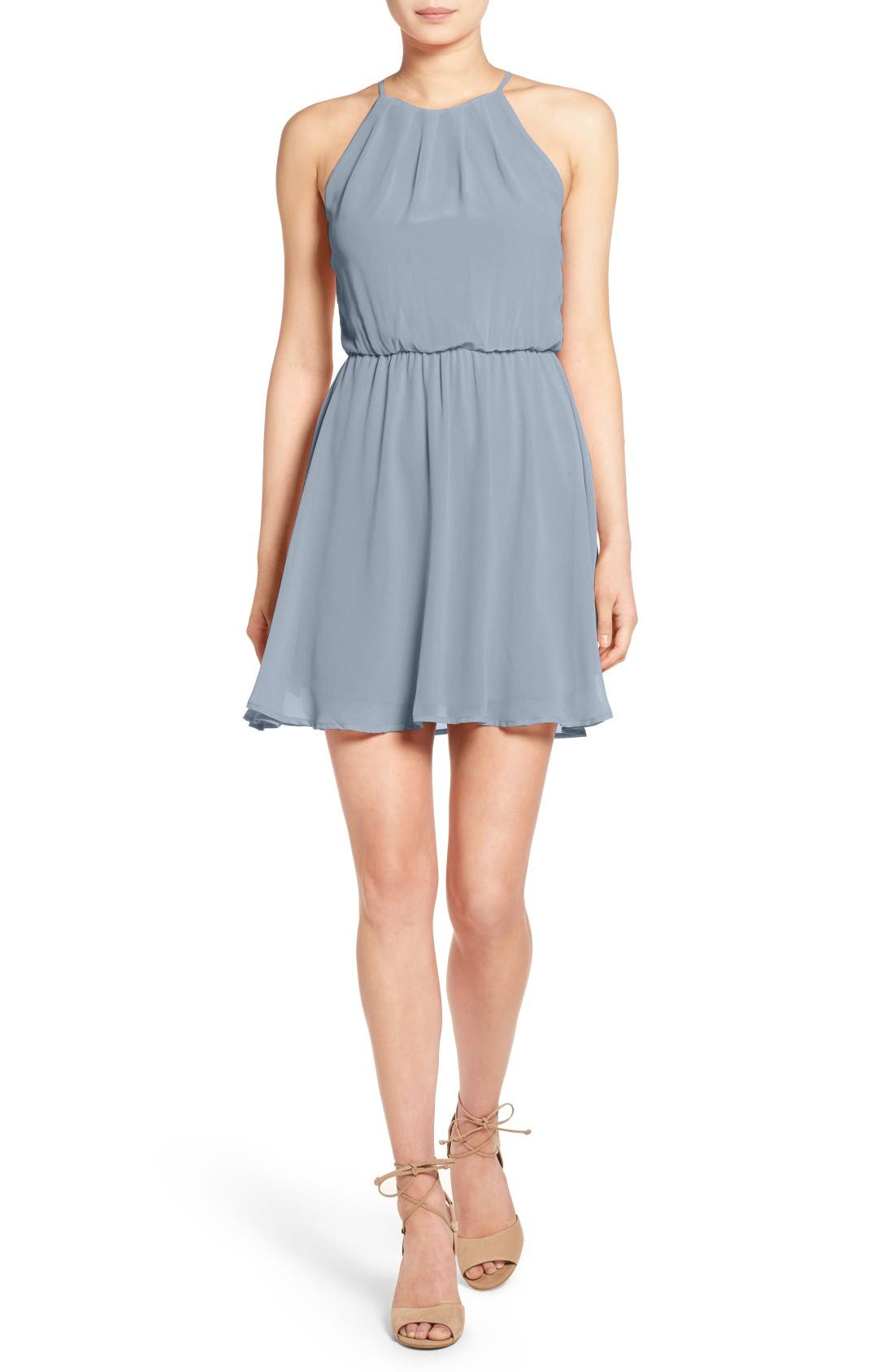 ,                             Blouson Chiffon Skater Dress,                             Main thumbnail 139, color,                             417