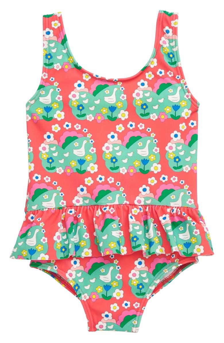 MINI BODEN Print One-Piece Swimsuit, Main, color, MULTI DUCKLING DAISY