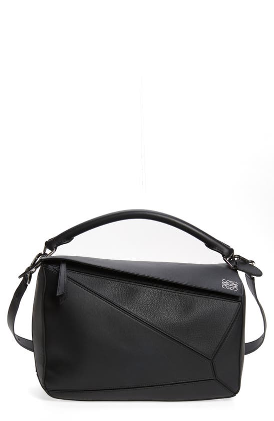 Loewe Women's Large Puzzle Leather Bag In Black