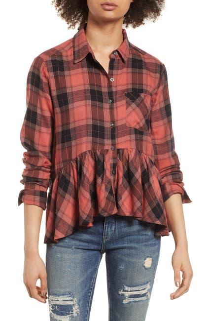 Image of BP. Plaid Peplum Shirt