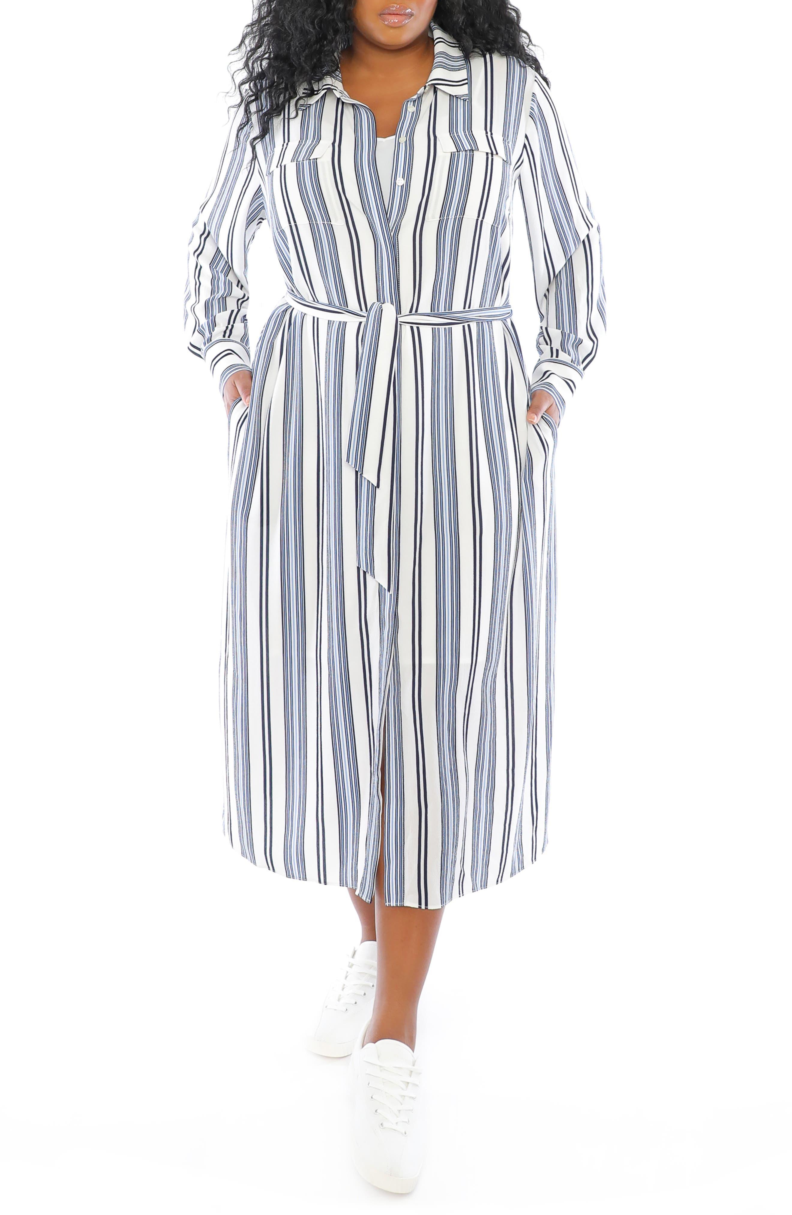 Stripe Long Sleeve Shirtdress