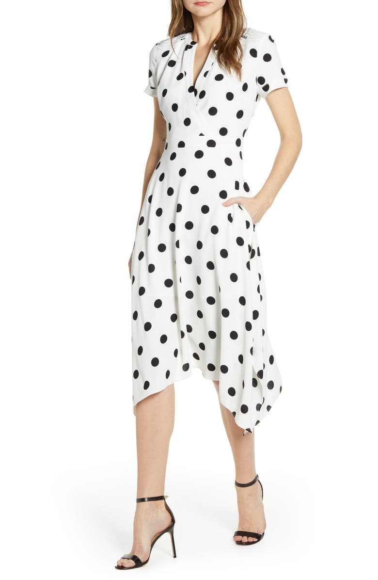 KARL LAGERFELD PARIS Polka Dot Wrap Front Dress, Main, color, S.WHT/ BLK