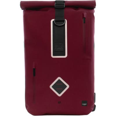Knomo London Thames Water Resistant Roll-Top Commuter Backpack - Burgundy