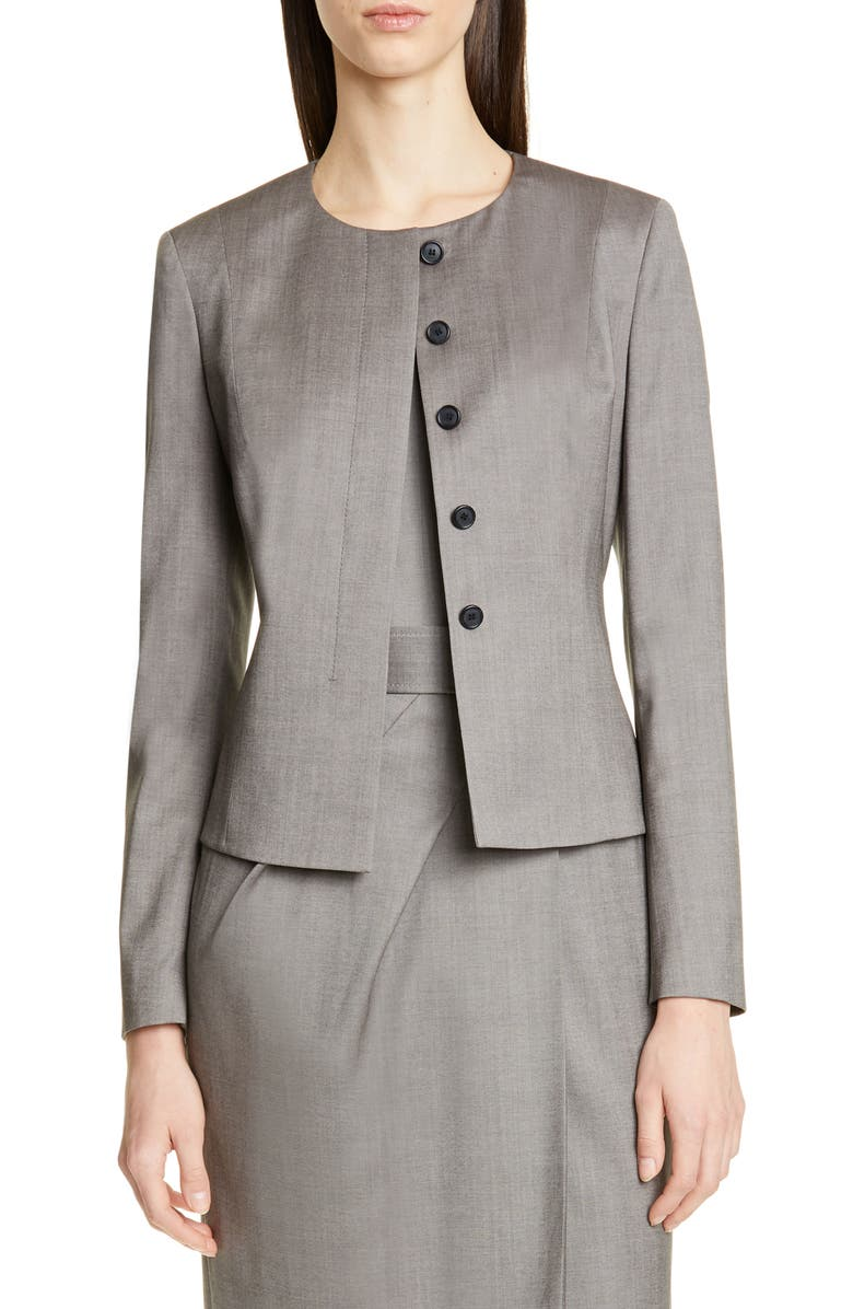 BOSS Javilla Melange Wool Suit Jacket, Main, color, DARK GREY